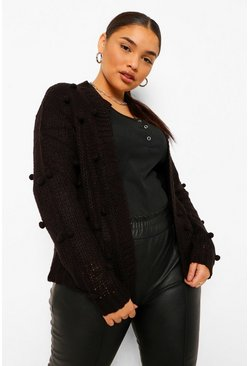 Black Plus Bobble Knitted Cardigan