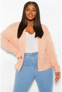 Blush pink Plus Bobble Knitted Cardigan