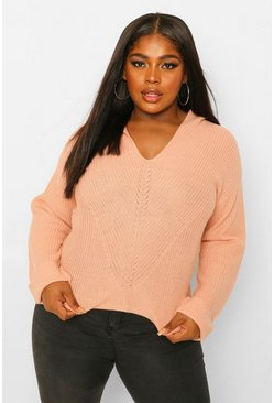 Blush pink Plus Knitted Oversized Hoodie