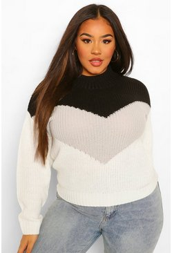 Black Plus Contrasted Knitted Jumper