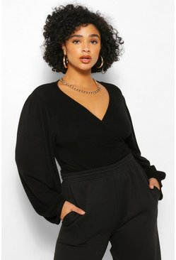 Black Plus Wrap Knitted V Neck Jumper