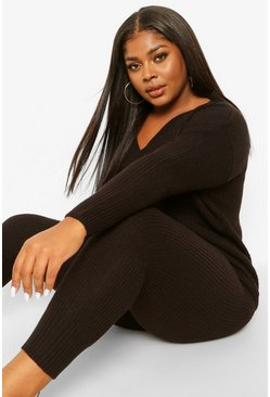 Black Plus V Neck Oversized Jumper & Jogger Set