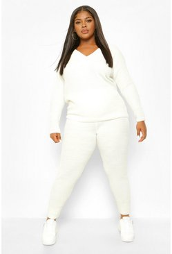Cream white Plus V Neck Oversized Jumper & Jogger Set