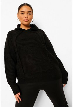 Black Plus Knitted Oversized Hoodie