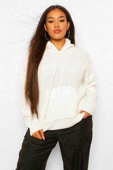 Cream white White Plus Knitted Oversized Hoodie