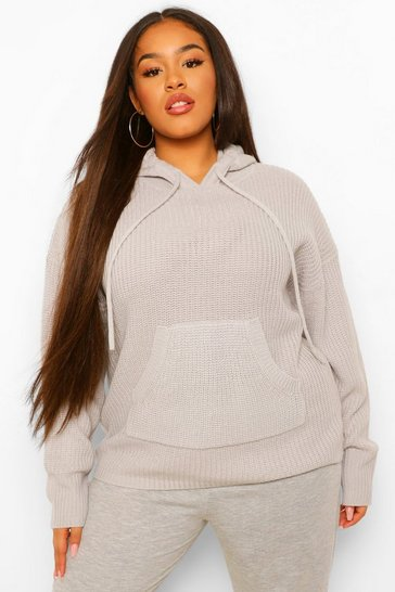 Grey Plus Knitted Oversized Hoodie