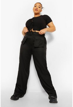 Black Plus Pocket Front Belted Wide Leg Cargo Trouser