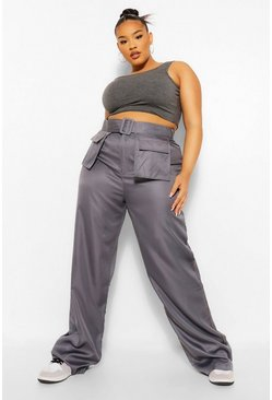 Charcoal grey Plus Pocket Front Belted Wide Leg Cargo Trouser