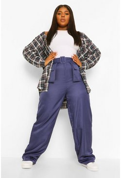 Navy Plus Pocket Front Belted Wide Leg Cargo Trouser