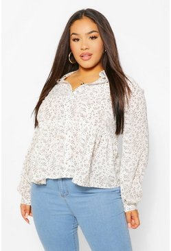 Ivory white Plus Abstract Spot Print Peplum Shirt