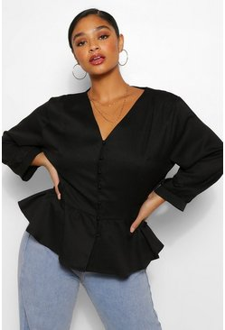 Black Plus Belted Peplum Blouse