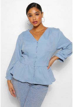 Blue Plus Belted Peplum Blouse
