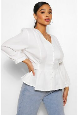 Ivory white Plus Belted Peplum Blouse