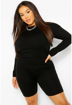 Black Plus Crew Neck Jumper and Shorts Set