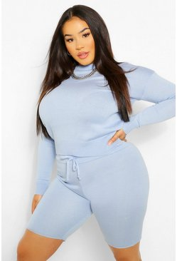 Blue Plus Crew Neck Jumper and Shorts Set