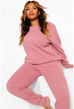Rose pink Plus Slash Neck Knitted Lounge Set
