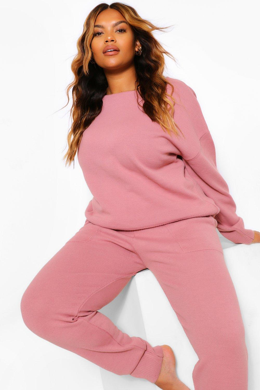 Plus Slash Neck Knitted Lounge Set 6