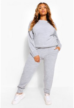 Silver Plus Slash Neck Knitted Lounge Set