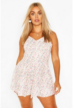 Pink Plus Ditsy Print Frill Strap Swing Playsuit