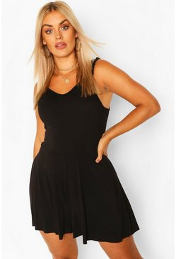 Black Plus Frill Strap Jersey Swing Playsuit