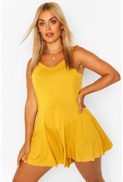 Mustard yellow Plus Frill Strap Jersey Swing Playsuit