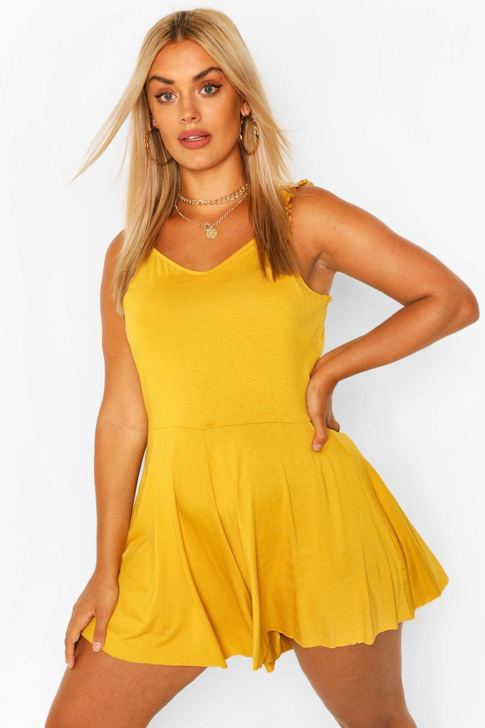 Plus Frill Strap Jersey Swing Playsuit 6