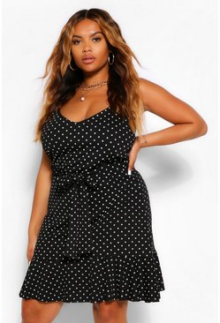 Black Plus Spot Print Ruffle Hem Sundress
