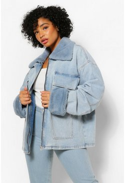 Mid blue blue Plus Fur Pocket Denim Jacket