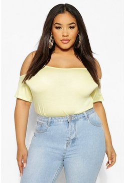 Lemon yellow Plus Cold Shoulder Swing Cami
