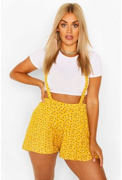 Mustard Plus Ditsy Floral Pinafore Short