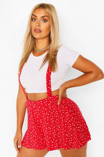 Red Plus Ditsy Floral Pinafore Short
