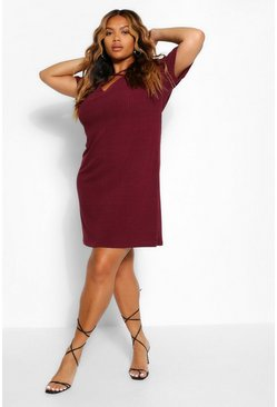 Berry Plus Plus Cross Front Strap Ribbed T-Shirt Dress