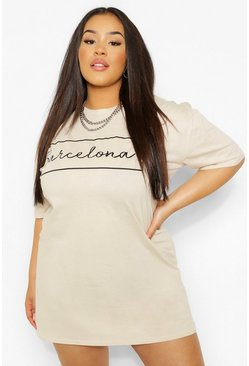 Stone beige Plus 'Barcelona' Oversized T-shirt Dress