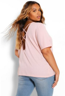 Blush pink Plus Cross Back T-Shirt