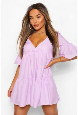 Lilac Petite Tiered Frill Sleeve Smock Dress