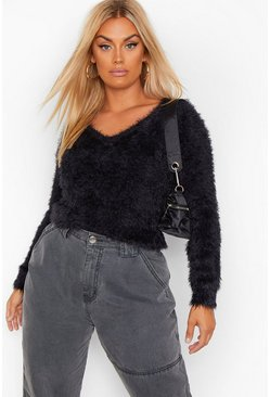 Black Plus Feather Knitted V Neck Jumper