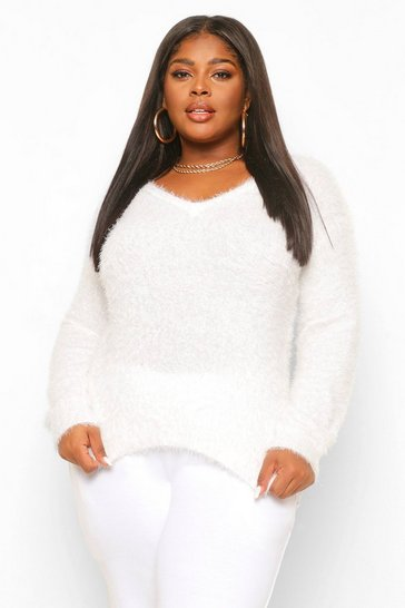 Cream white Plus Feather Knitted V Neck Jumper