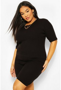 Black Plus Knitted Jumper and Cycle Short Lounge Set
