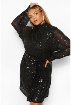 Black Plus Sequin High Neck Belted Shift Dress