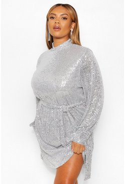 Silver Plus Sequin High Neck Belted Shift Dress