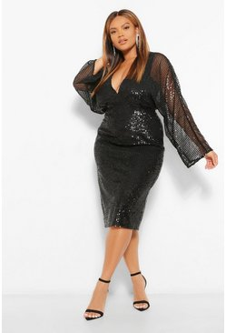 Black Plus Sequin Batwing Sleeve Midi Dress