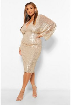 Gold metallic Plus Sequin Batwing Sleeve Midi Dress