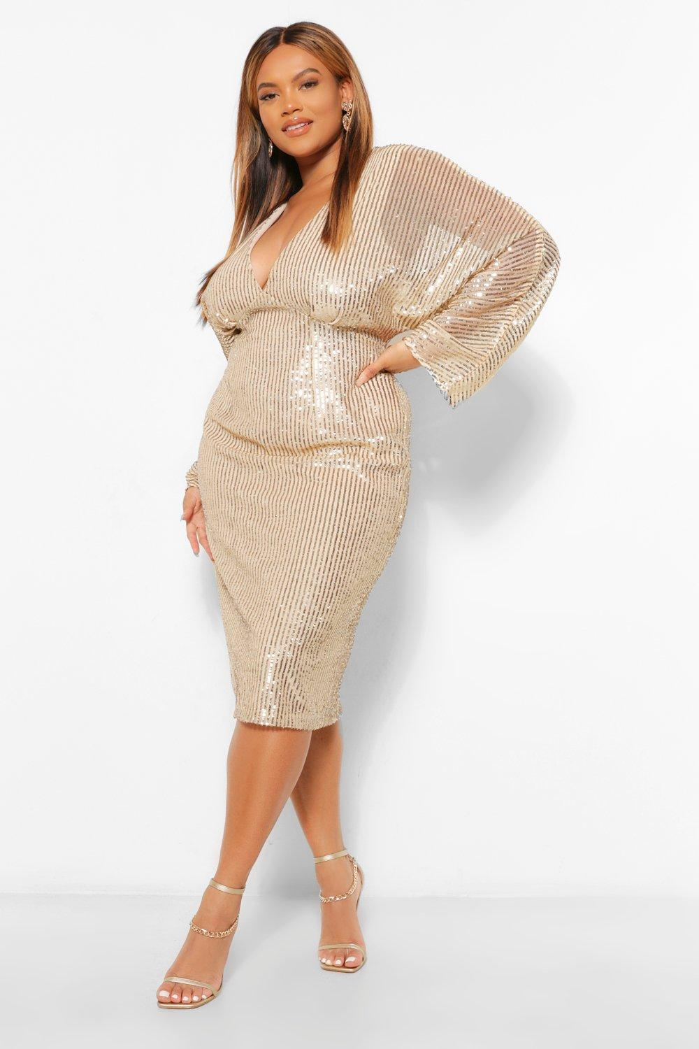 Plus Sequin Batwing Sleeve Midi Dress 16