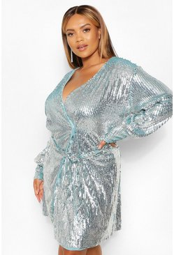 Gun metal metallic Plus Premium Sequin Wrap Balloon Sleeve Dress