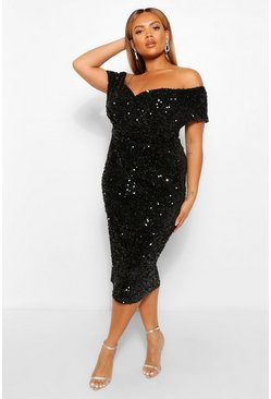 Black Plus Sequin Off The  Shoulder Wrap Midi Dress