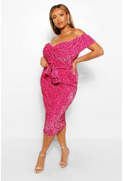 Pink Plus Sequin Off The  Shoulder Wrap Midi Dress