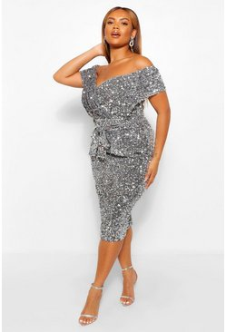 Silver Plus Sequin Off The  Shoulder Wrap Midi Dress