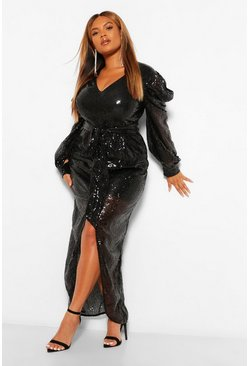Black Plus Sequin Puff Sleeve Tie Waist Wrap Maxi Dress