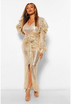 Gold metallic Plus Sequin Puff Sleeve Tie Waist Wrap Maxi Dress