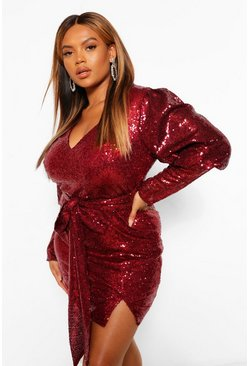 Berry red Plus Sequin Puff Sleeve Tie Belted Mini Dress
